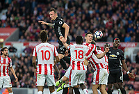 Phil Jones of Man Utd shots at goal is blocked by Kevin Wimmer of Stoke City during the Premier League match between Stoke City and Manchester United at the Britannia Stadium, Stoke-on-Trent, England on 9 September 2017. Photo by Andy Rowland.