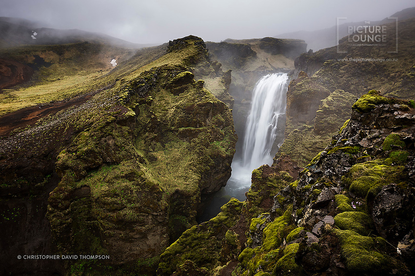 Above Skógáfoss (waterfall) in  South Iceland the Skógá River winds up through the hills and features a myriad of amazing waterfalls. Here New Zealand's Wanaka based landscape and fine art photographer Christopher David Thompson found himself hiking through the rain and mist to find them, and this was a personal favourite taken between the showers...