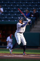Northwest Arkansas Naturals second baseman Raul Mondesi (27) at bat during a game against the Springfield Cardinals on April 26, 2016 at Hammons Field in Springfield, Missouri.  Northwest Arkansas defeated Springfield 5-2.  (Mike Janes/Four Seam Images)