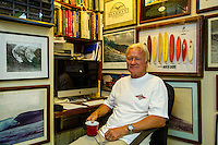 HONOLULU, North Shore, Oahu. - (Friday, January 4, 2013) --Surfer, Shaper, Adventurer,Triple Crown of Surfing Director, Randy Rarick (HAW)  photographed in his shaping bay and office at Sunset Beach on the North Shore. Photo: joliphotos.com