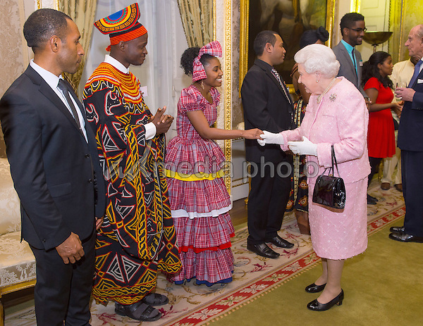 14 March 2016 - London, England - Queen Elizabeth II and Prince Philip the Duke of Edinburgh are greeted by the Commonwealth Secretary-General, Kamalesh Sharma at the annual Commonwealth Day reception at Marlborough House, London. Photo Credit: Alpha Press/AdMedia