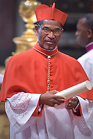 Cardinal Arlindo Gomes Furtado, bishop of Santiago of Cape verde islands,Pope Francis,during a consistory for the creation of new Cardinals at St. Peter's Basilica in Vatican.February 14, 2015