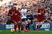9th February 2019, Anfield, Liverpool, England; EPL Premier League football, Liverpool versus AFC Bournemouth; Dan Gosling of Bournemouth is closed down in midfield by Fabinho and James Milner of Liverpool