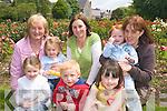 Enjoying feile na mBlath at Tralee town park on Friday front Sarah Mason, Sean Naughton and Ciara Sugerue. Back L to r Josephine Casey, Evelyn Mason, Kathleen Mason Susan and Rosin Sugerue.