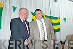 Jerome Conway congratulates Patrick O'Sullivan at the County Board Meeting on Monday night at the Malton Hotel Killarney.
