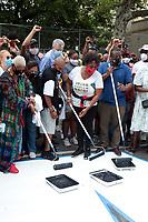 New York City Mayor Bill de Blasio visits Harlem BLM mural