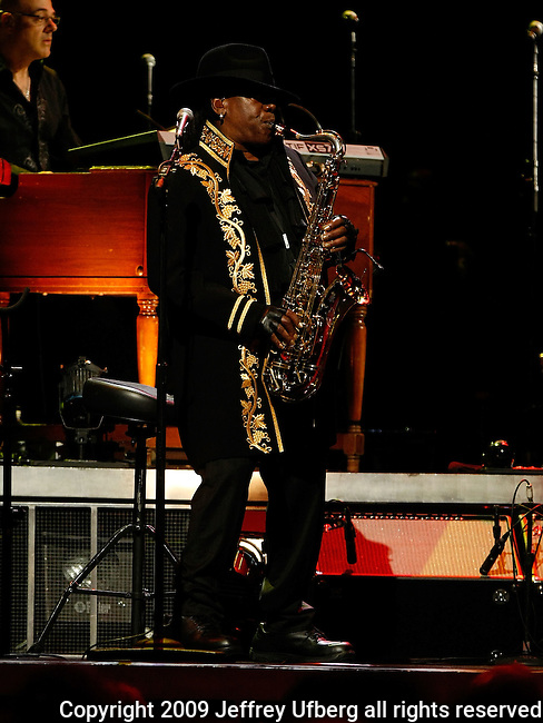 """November 7, 2009 New York: Musician Clarence Clemmons performs """"Madison Square Garden"""" on November 7, 2009 in New York."""