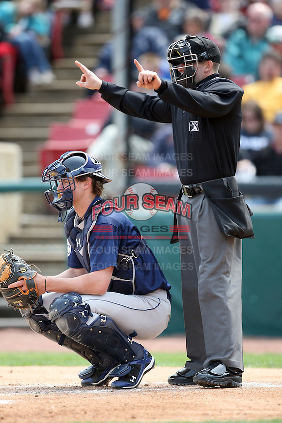 April 11 2010: Home plate umpire Rocky Craig at Elfstrom Stadium in Geneva, IL. Photo by: Chris Proctor/Four Seam Images