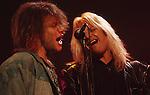 Vince Neil of Motley Crue & Jon Bon Jovi in Los Angeles Sept 1988.
