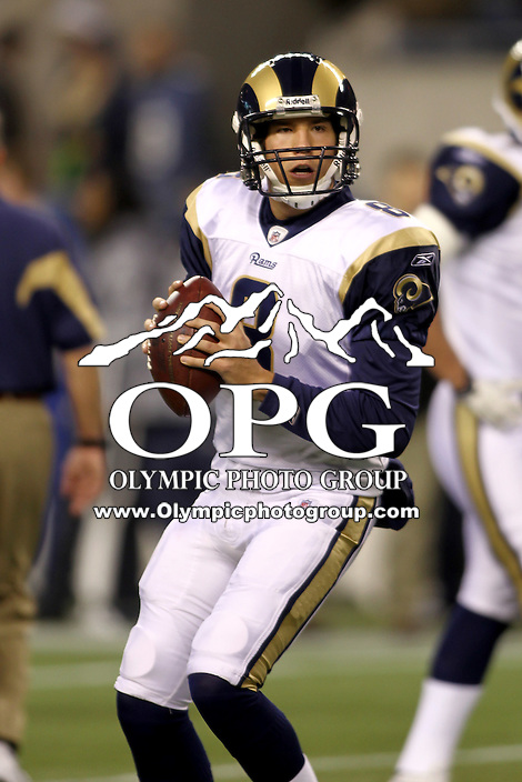 January 02, 2011:  St. Louis Rams quarterback #8 Sam Bradford warmed up before the game against the Seattle Seahawks at Quest Field in Seattle, WA.  Seattle won 16-6 over St. Louis.