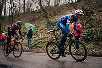 Niki Terpstra (NED/Quick-Step Floors) charging up the Trieu with Jempy Drucker (LUX/BMC) trying to hold his wheel<br /> <br /> 73rd Dwars Door Vlaanderen 2018 (1.UWT)<br /> Roeselare - Waregem (BEL): 180km