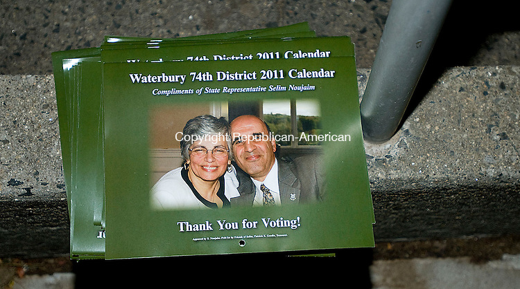 WATERBURY, CT-02 NOVEMBER, 2010-110210S02-A stack of Waterbury 47th District 2011 calendars sit outside at the polling place at Crosby High School in Waterbury on Tuesday. <br /> Jim Shannon Republican-American