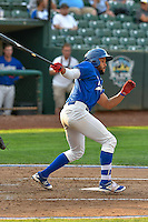 Jared Walker (41) of the Ogden Raptors follows through on his swing against the Idaho Falls Chukars during the Pacific Coast League game at Smith's Ballpark on August 29, 2016 in Salt Lake City, Utah. The Chukars defeated the Raptors 3-0. (Stephen Smith/Four Seam Images)