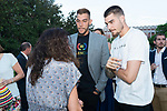 Willy (l) and Juancho (r) Hernan Gomez speak with Laia Palau during the first edition of Spanish Basketball Awards. July 25, 2019. (ALTERPHOTOS/Francis Gonzalez)