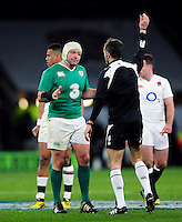 Rory Best of Ireland speaks to referee Romain Poite. RBS Six Nations match between England and Ireland on February 27, 2016 at Twickenham Stadium in London, England. Photo by: Patrick Khachfe / Onside Images