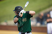 Bobby Seymour (3) of the Wake Forest Demon Deacons at bat against the Louisville Cardinals at David F. Couch Ballpark on March 17, 2018 in  Winston-Salem, North Carolina.  The Cardinals defeated the Demon Deacons 11-6.  (Brian Westerholt/Four Seam Images)
