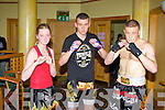 Leah Corcoran, Shane Begley, Danny Neenan of the Champion Thai boxing club who took part in the Night of Champions at the Brandon hotel, Tralee on Saturday.