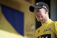 Chris Froome (GBR/SKY) in yellow on the podium<br /> <br /> stage 13: Muret - Rodez<br /> 2015 Tour de France