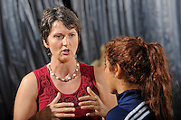 11 September 2011:  FIU Volleyball Head Coach Danijela Tomic (left) speaks with Student Assistant Coach Natalia Valentin prior to the match.  The FIU Golden Panthers defeated the Florida A&M University Rattlers, 3-0 (25-10, 25-23, 26-24), at U.S Century Bank Arena in Miami, Florida.