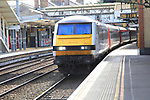 Greater Anglia mainline train at platform Ipswich railway station, Suffolk, England, UK