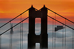 Looking eastward from the Marin Headlands through the Golden Gate Bridge to SF, the sunrise colored the morning fog as it crawled into the Bay Area making way relief from the wet weather until Friday when Bay Area forecast is for more showers to last through the weekend. .  ..