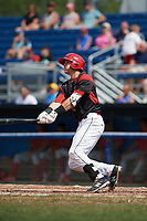 Batavia Muckdogs third baseman Tyler Curtis (11) hits his first professional home run during the first game of a doubleheader against the Williamsport Crosscutters on August 20, 2017 at Dwyer Stadium in Batavia, New York.  Batavia defeated Williamsport 6-5.  (Mike Janes/Four Seam Images)