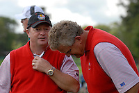 September 24th, 2006. European  Ryder Cup team captain Ian Woosnam and player Colin Montgomerie during the singles final session of the last day of the 2006 Ryder Cup at the K Club in Straffan,. County Kildare in the Republic of Ireland...Photo: Eoin Clarke/ Newsfile..