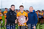 Terence Houlihan Coaching Officer and Peter Keane  presents Terence Houlihan Austin Stacks Captain the Minor Division 1 league sheild after defeating Dr Crokes in the final in Milltown on Wednesday evening