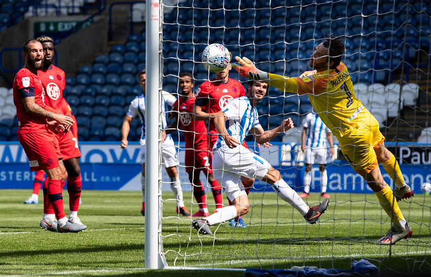 Wigan Athletic's David Marshall makes an important save<br /> <br /> Photographer Alex Dodd/CameraSport<br /> <br /> The EFL Sky Bet Championship - Huddersfield Town v Wigan Athletic - Saturday 20th June 2020 - John Smith's Stadium - Huddersfield <br /> <br /> World Copyright © 2020 CameraSport. All rights reserved. 43 Linden Ave. Countesthorpe. Leicester. England. LE8 5PG - Tel: +44 (0) 116 277 4147 - admin@camerasport.com - www.camerasport.com