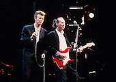 David Bowie and guitarist Adrian Belew - performing live on the Sound+Vision Tour at the Palace in Auburn Hills Michigan USA -1990. Photo credit: Ken Settle/Dalle/IconicPix **UK ONLY**