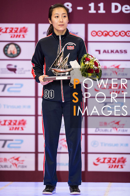 Ying Han of Germany during the prize ceremony of Women's Singles Final match during the Seamaster Qatar 2016 ITTF World Tour Grand Finals at the Ali Bin Hamad Al Attiya Arena on 11 December 2016, in Doha, Qatar. Photo by Victor Fraile / Power Sport Images