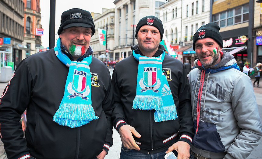 Italy fans enjoying the pre match atmosphere<br /> <br /> Photographer Simon King/CameraSport<br /> <br /> International Rugby Union - RBS 6 Nations Championships 2016 - Wales v Italy - Saturday 19th March 2016 - Principality Stadium, Cardiff <br /> <br /> &copy; CameraSport - 43 Linden Ave. Countesthorpe. Leicester. England. LE8 5PG - Tel: +44 (0) 116 277 4147 - admin@camerasport.com - www.camerasport.com