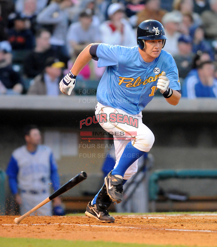 April 10, 2009: Catcher Matt Kennelly (19) of the Myrtle Beach Pelicans, Class A affiliate of the Atlanta Braves, in a game against the Wilmington Blue Rocks at BB&T Coastal Field in Myrtle Beach, S.C. Photo by:  Tom Priddy/Four Seam Images