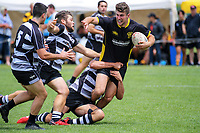 Dan Schrijvers (Wellington) in action against Hawkes Bay men. 2018 Central Regional Sevens at Playford Park in Levin, New Zealand on Saturday, 1 December 2018. Photo: Dave Lintott / lintottphoto.co.nz