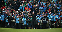 Breaking through the crowds; Shane Lowry (IRL) welcomes the 18th with pen arms during the Final Round of the 148th Open Championship, Royal Portrush Golf Club, Portrush, Antrim, Northern Ireland. 21/07/2019. Picture David Lloyd / Golffile.ie<br /> <br /> All photo usage must carry mandatory copyright credit (© Golffile | David Lloyd)