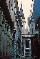 Sir Christopher Wren: St. Edmund the King and Martyr, 1670-79, 1706-07.Tower & spire--lead covered octagonal Lantern & spire. On Lombard St. as seen from St. Clement's Lane. Photo '90.