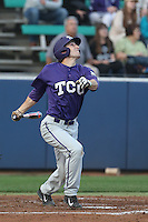 Jeremie Fagnan (32) of the TCU Horned Frogs bats during a game against the Loyola Marymount Lions at Page Stadium on March 16, 2015 in Los Angeles, California. TCU defeated Loyola, 6-2. (Larry Goren/Four Seam Images)