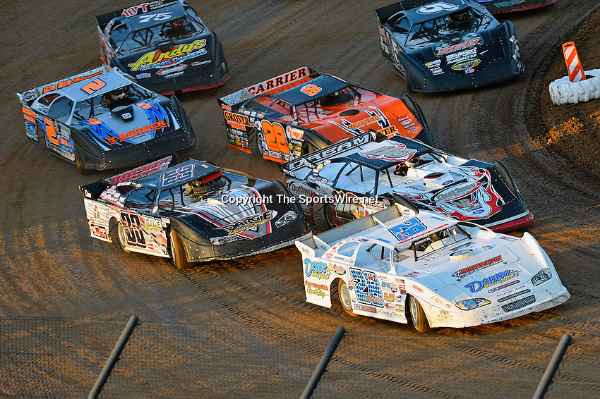 May 25, 2013; 7:37:30 PM; Wheatland, Mo., USA; The  Lucas Oil Late Model Dirt Series running the 21st Annual Lucas Oil Show-Me 100 Presented by ProtectTheHarvest.com.  Mandatory Credit: (thesportswire.net)