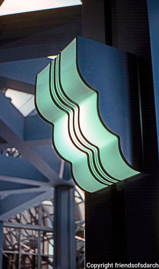 Helmut Jahn: Northwestern Terminal light fixture. (Jahn has identical light fixtures in addition to Chicago Board of Trade.) Source--Board of Trade lobby.  Photo '88.
