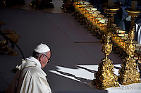 "Pope Francis  leads a canonization mass on October 16, 2016 at St Peter's square in Vatican. Pope Francis canonises Argentine ""gaucho priest"" Jose Gabriel Brochero today along with six others raised to sainthood : Salomon Leclercq, Jose Sanchez del Río, Manuel Gonzalez Garcia, Lodovico Pavoni, Alfonso Maria Fusco and Elizabeth of the Trinity."