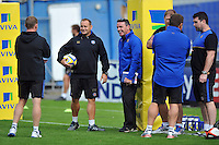 Bath Rugby coaches look on during the pre-match warm-up. West Country Challenge Cup match, between Gloucester Rugby and Bath Rugby on September 13, 2015 at the Memorial Stadium in Bristol, England. Photo by: Patrick Khachfe / Onside Images
