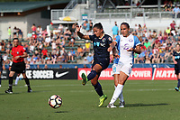 Cary, North Carolina  - Saturday April 29, 2017: Debinha (left) and Monica Hickmann Alves (21) during a regular season National Women's Soccer League (NWSL) match between the North Carolina Courage and the Orlando Pride at Sahlen's Stadium at WakeMed Soccer Park.