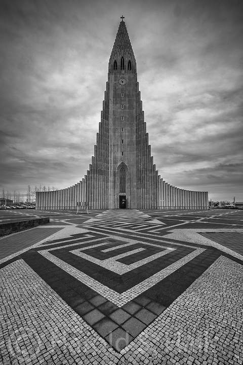 Hallgrímskirkja is a Lutheran church in Reykjavík, Iceland and not too surprisingly, the tallest church in Iceland. The design of this church mimics the straight and tall hexagonal shaped basalt columns which can be seen elsewhere in my images of Iceland.