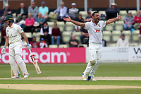 Ravi Bopara of Essex claims the wicket of Joe Clarke during Worcestershire CCC vs Essex CCC, Specsavers County Championship Division 1 Cricket at Blackfinch New Road on 12th May 2018