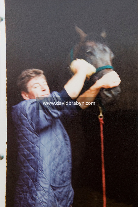 Family photograph provided by Mrs Leparoux dated 1994 or 1995, showing the father of French jockey sensation Julien Leparoux, working at the Jean de Roualle stables in Lamorlaye. Photo Credit: HO/Courtesy Mrs Leparoux.<br />