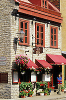 Boutiques and restaurants along Rue Saint-Louis in Vieux-Quebec [old quebec ]. Quebec City