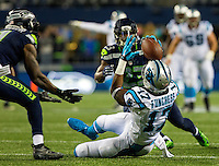 Photography of the Sunday night football action of the Carolina Panthers v. The Seattle Seahawks at CenturyLink Field in Seattle, Washington.<br /> <br /> Charlotte Photographer - PatrickSchneiderPhoto.com