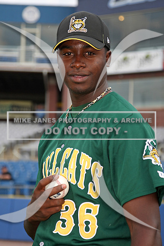 Lynchburg Hillcats pitcher Arodys Vizcaino #36 poses for a photo before a game against the Wilmington Blue Rocks at Frawley Stadium on May 3, 2011 in Wilmington, Delaware.  Lynchburg defeated Wilmington by the score of 11-1.  Photo By Mike Janes/Four Seam Images