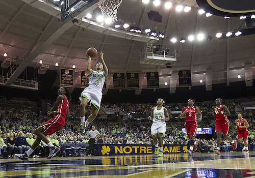 January 13, 2013:  A general view as Notre Dame guard Skylar Diggins (4) goes up for a shot during NCAA Basketball game action between the Notre Dame Fighting Irish and the Rutgers Scarlett Knights at Purcell Pavilion at the Joyce Center in South Bend, Indiana.  Notre Dame defeated Rutgers 71-46.