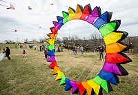 NWA Democrat-Gazette/BEN GOFF @NWABENGOFF<br /> A large wind sock blows as guest fly their kites Saturday, March 23, 2019, during the 29th annual Eureka Springs Kite Festival hosted by Turpentine Creek Wildlife Refuge in Eureka Springs. The free family event included kite making and kites for sale from Keleidokites in Eureka Springs and a variety of food trucks and entertainment. Strong wind kept dozens of kites flying high at any given time.